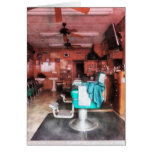 Barber Shop With Green Barber Chairs Card
