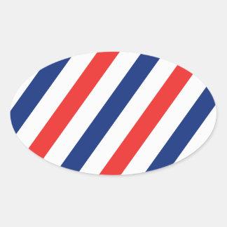 Barber Stripes Oval Sticker