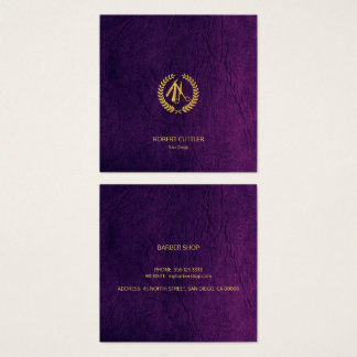 Barber stylist luxury gold purple leather look square business card