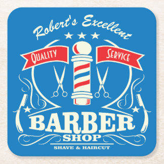 Barber Stylist Tools Barbershop Monogrammed Square Paper Coaster