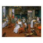 Barber's shop with Monkeys and Cats Print