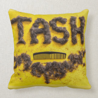 Barbers Tash symbol made from hair Throw Pillow