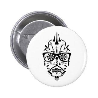 barbershop calavera 2 inch round button