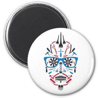 barbershop calavera 2 inch round magnet