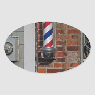 Barbershop Pole Vector Oval Sticker