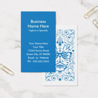 barbershop punk skull business card