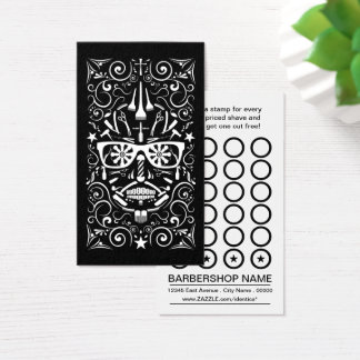 barbershop punk skull punch card