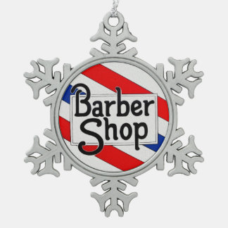 Barbershop Snowflake Pewter Christmas Ornament