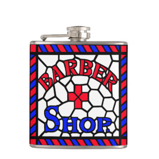 Barbershop Stained Glass Hip Flask