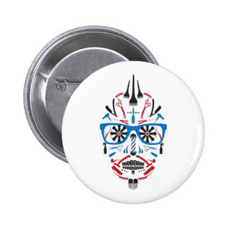 barbershop sugar skull 2 inch round button