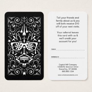 barbershop sugar skull referral program business card