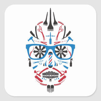 barbershop sugar skull square sticker