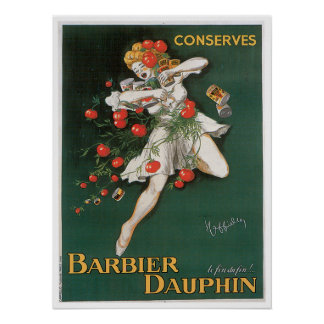 Barbier Dauphin Conserves Vintage Food Ad Art Poster
