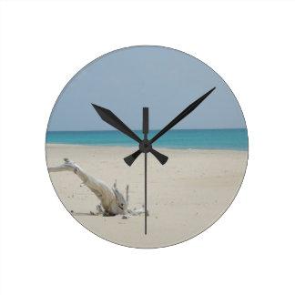 Barbuda Driftwood Beach Round Clock