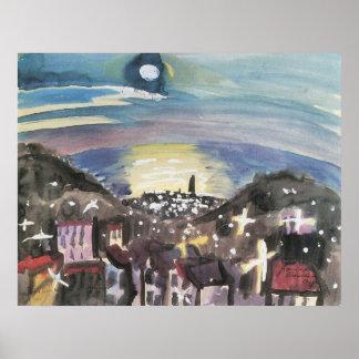 Barcelona at night (1st version) by Walter Gramatt Poster