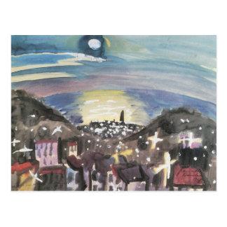 Barcelona at night (1st version) - Walter Gramatte Postcard