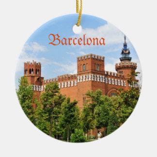 Barcelona castle round ceramic ornament