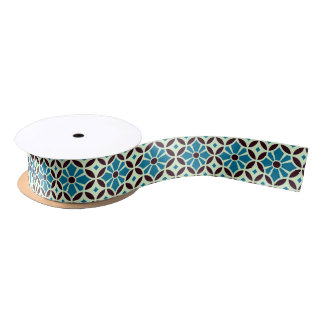 Barcelona cement tile petals with star satin ribbon