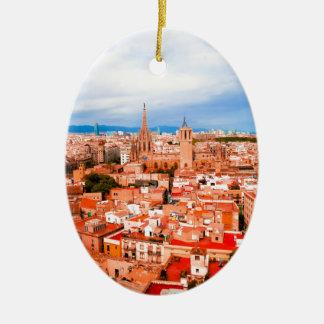 Barcelona Ceramic Oval Ornament