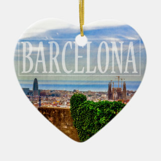 Barcelona city ceramic heart ornament