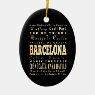 Barcelona City of Spain Typography Art Ceramic Ornament