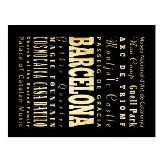 Barcelona City of Spain Typography Art Postcard