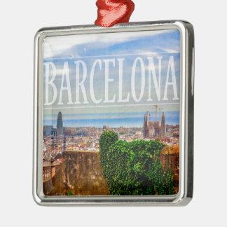 Barcelona city Silver-Colored square ornament