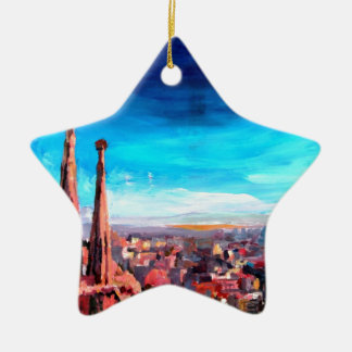 Barcelona City View And Sagrada Familia Ceramic Star Ornament