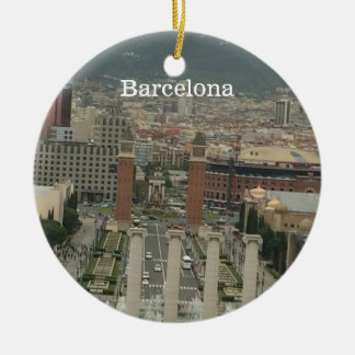 Barcelona City View Round Ceramic Ornament