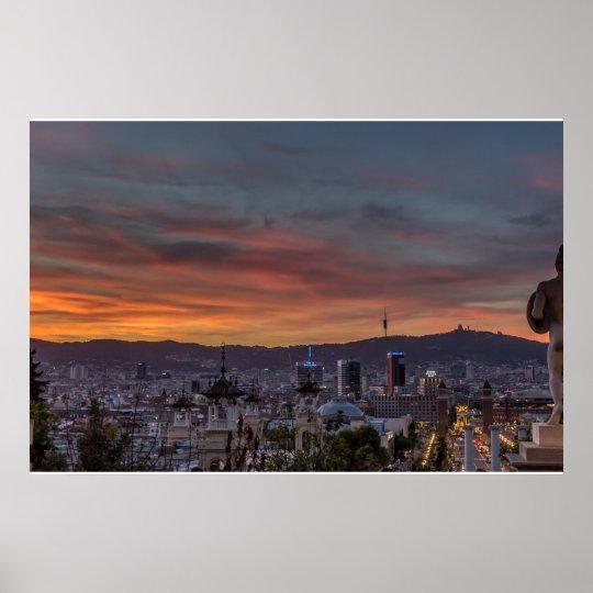 Barcelona cityscape sunset poster