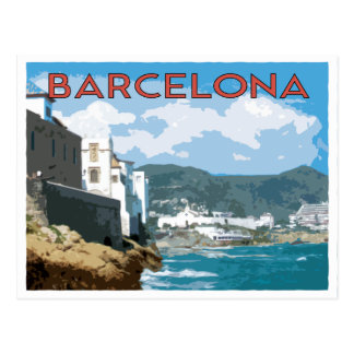 Barcelona coast, Spain vintage travel style Postcard