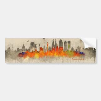 Barcelona Double watercolor Skyline v03 B/W-Color Bumper Sticker