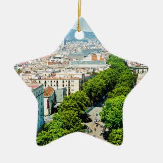 Barcelona from above ceramic ornament