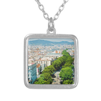 Barcelona from above silver plated necklace