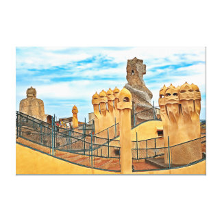 Barcelona. Gaudí. Casa Milà. View of the rooftop. Canvas Print