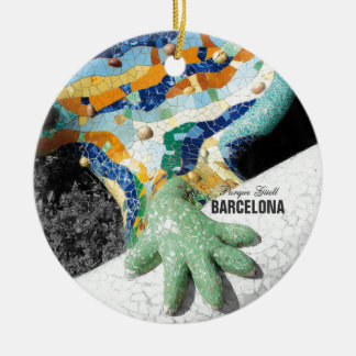 Barcelona Gaudi Park Guell Round Ceramic Ornament