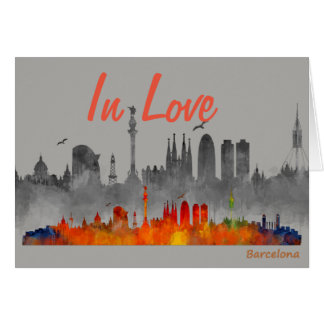 Barcelona In watercolor Love skyline Double City Card