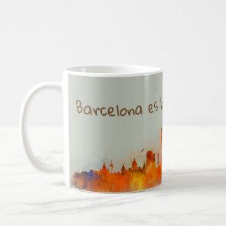 Barcelona is Bonn watercolor Skyline v03 Coffee Mug
