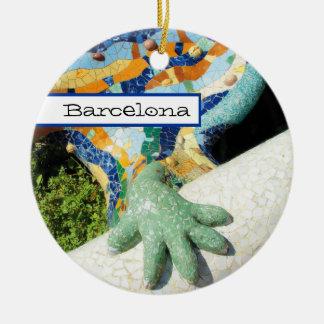 Barcelona Lizard Hand Mosaics Round Ceramic Ornament