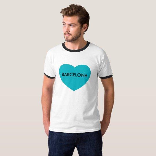 Barcelona on heart printed on Men's Ringer T-Shirt