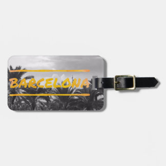 barcelona palm tree playa luggage tag