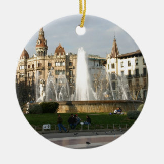 Barcelona--Plaza--Catalunya--[kan.k].JPG Round Ceramic Ornament