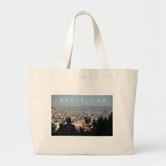 Barcelona Postcard Large Tote Bag