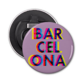 Barcelona Psychedelic Glitch Customizable Colour Button Bottle Opener
