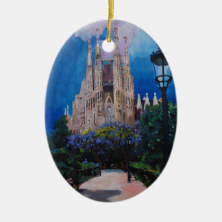 Barcelona Sagrada Familia with Park and Lantern Ceramic Oval Ornament