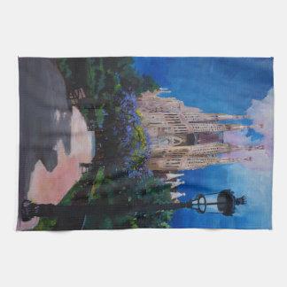Barcelona Sagrada Familia with Park and Lantern Kitchen Towel