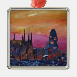 Barcelona Skyline and Torre Agbar, Sagrada Familia Metal Ornament