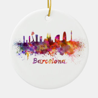 Barcelona skyline in watercolor ceramic ornament