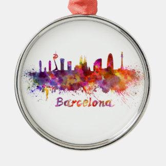 Barcelona skyline in watercolor metal ornament