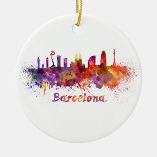 Barcelona skyline in watercolor round ceramic ornament
